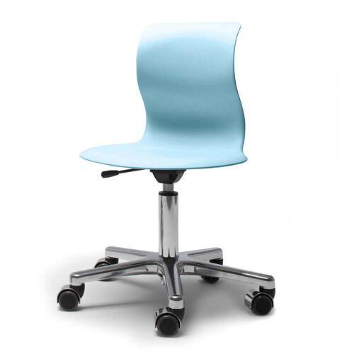 Flötotto - Pro 4 Drehstuhl Alu poliert, Sitzschale aquablau, weiche Rollen (mit polierter Abdeckung)