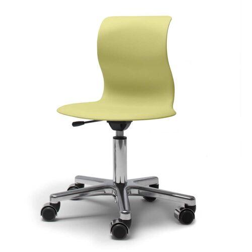 Flötotto - Pro 5 Drehstuhl Alu poliert, Sitzschale kiwigrün, weiche Rollen (mit polierter Abdeckung)