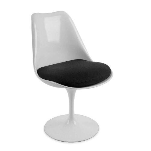 Knoll - Saarinen Tulip Stuhl drehbar, weiß / schwarz (Tonus 128)