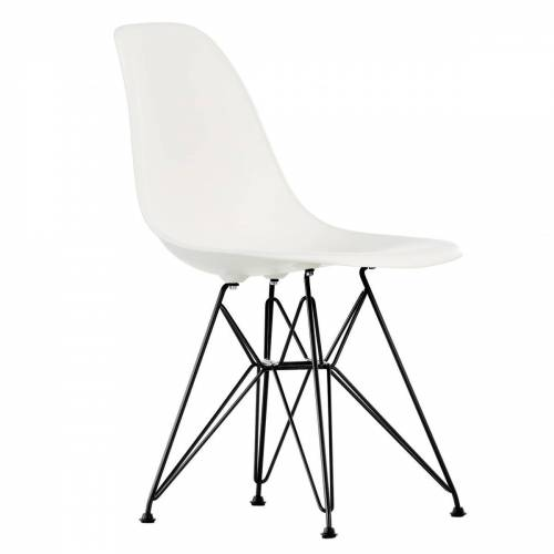 Vitra - Eames Plastic Side Chair DSR, basic dark / weiß (Kunststoffgleiter basic dark)