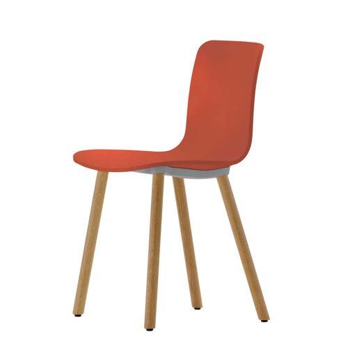 Vitra - Hal Wood Stuhl, backstein / Eiche hell / Kunststoffgleiter