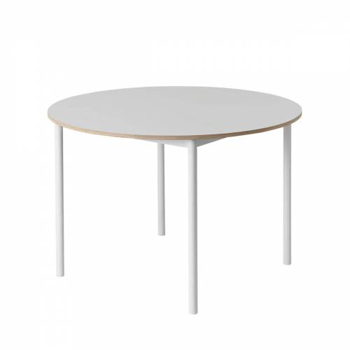 Muuto - Base Table Ø 110 cm, Laminat mit Sperrholzkante / weiß