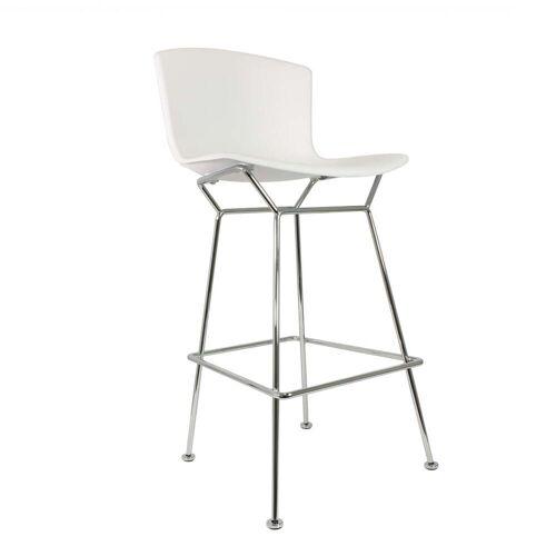 Knoll - Bertoia Kunststoff-Barhocker, Chrom / weiß