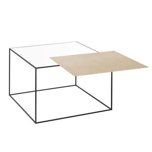 by Lassen - Twin 49 Beistelltisch schwarzer Rahmen, Eiche / weiß