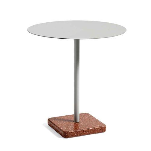 HAY - Terrazzo Tisch rund Ø 70 cm, grau / rot