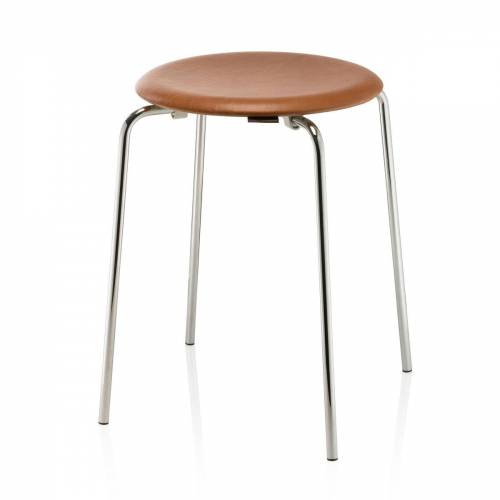 Fritz Hansen - Dot Hocker, Leder / Chrom