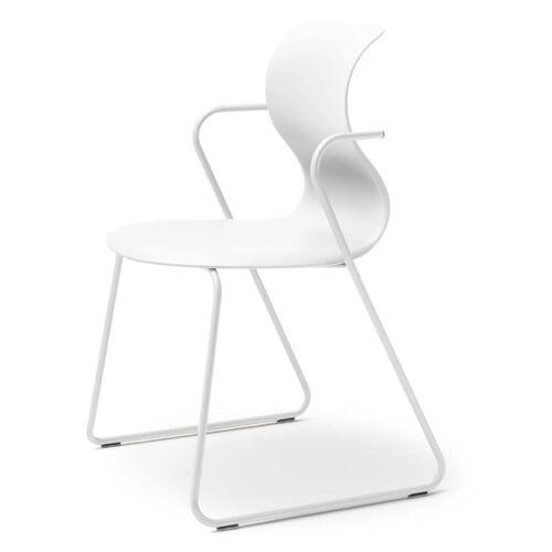 Flötotto - Pro 6 Stuhl, mit Armlehnen, Gleitkufengestell schneeweiß, Sitzschale schneeweiß