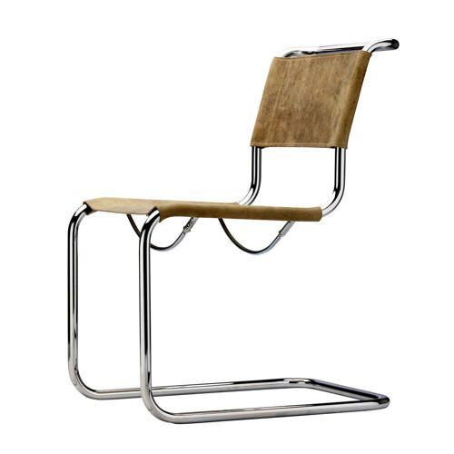 Thonet - S 33 Stuhl, Chrom / Büffelleder braun