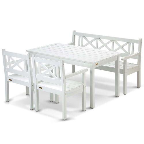 Skagerak - Skagen Kampagnen-Set, weiß (1 Esstisch, 1 Bank und 2 Stühle)