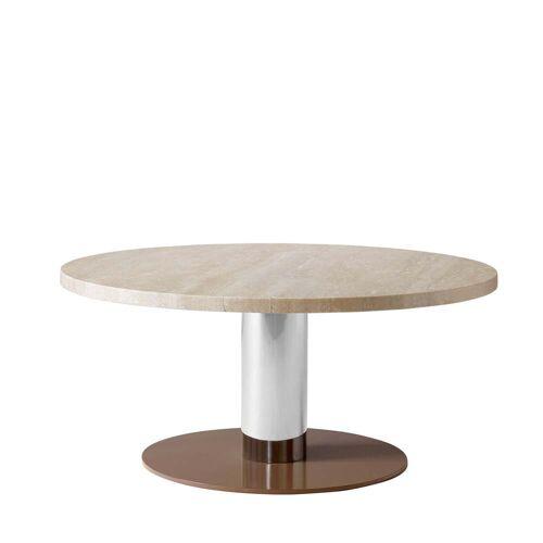 &tradition - Mezcla JH20 Couchtisch, Ø 80 x H 40 cm, Travertin / Chrom / clay