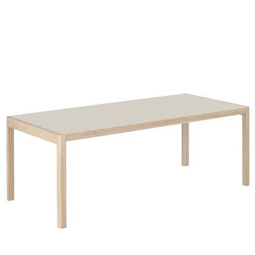 Muuto - Workshop Esstisch, 200 x 92 cm, Eiche / Linoleum warm grey