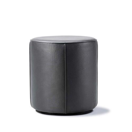 Fredericia - Mono Pouf Ø 39 cm, Leder 301 schwarz