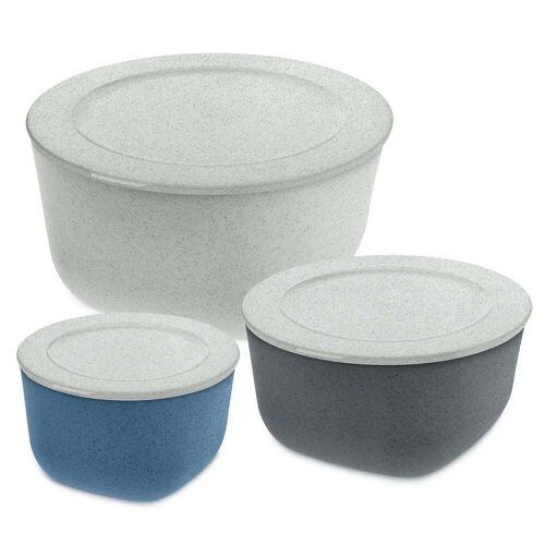 Koziol - Connect Vorratsdosen-Set, organic grey 4 l / organic deep grey 2 l / organic blue 1 l (3er-Set)