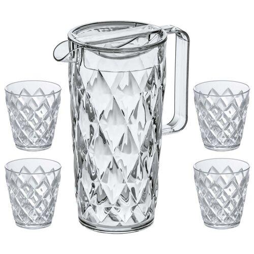 Koziol - Crystal Kanne 1.6 l mit 4 Becher, crystal clear
