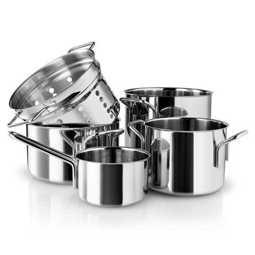 Eva Trio - Stainless Steel Topfset Pasta (5-tlg.) Stielkasserolle 1.1 l / Kochtopf 2.2 l / Kochtopf 3.6 l / Kochtopf 4.8 l / Pasta Sieb