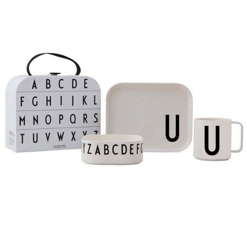 Design Letters - Kindergeschirr-Set inkl. Koffer, U