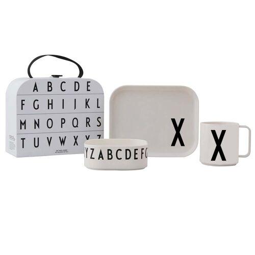 Design Letters - Kindergeschirr-Set inkl. Koffer, X