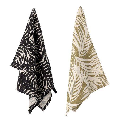 Bloomingville - Ivora Geschirrtuch, 45 x 75 cm, schwarz / beige (2er-Set)