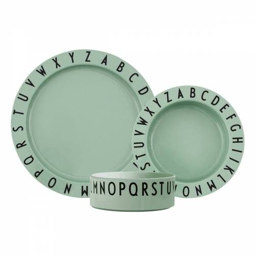 Design Letters - Eat & Learn Kids Geschirr-Set, grün (3-tlg.)