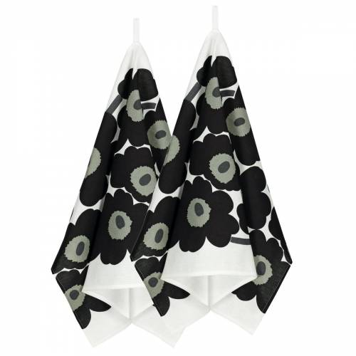 Marimekko - Unikko Geschirrtuch, 2er-Set, weiß / schwarz