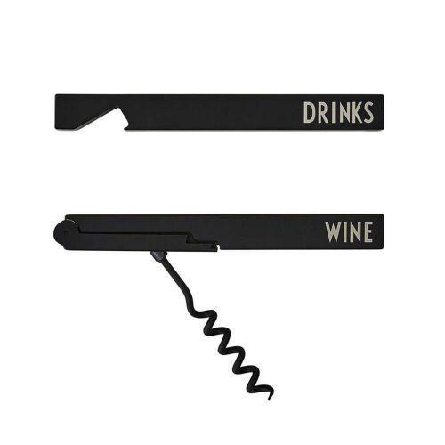 Design Letters - Bar Geschenkset Flaschenöffner, schwarz
