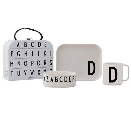 Design Letters - Kindergeschirr-Set inkl. Koffer, D