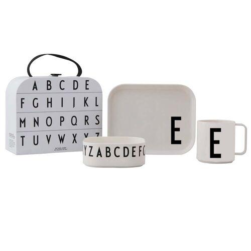Design Letters - Kindergeschirr-Set inkl. Koffer, E