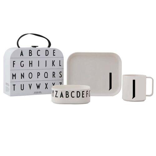Design Letters - Kindergeschirr-Set inkl. Koffer, J