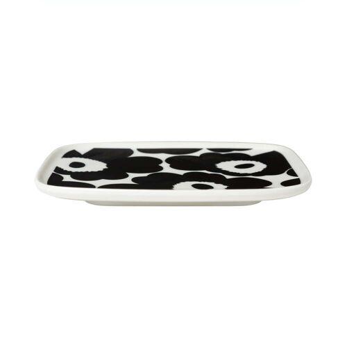 Marimekko - Oiva Unikko Servierplatte, 15 x 12 cm, weiß / schwarz