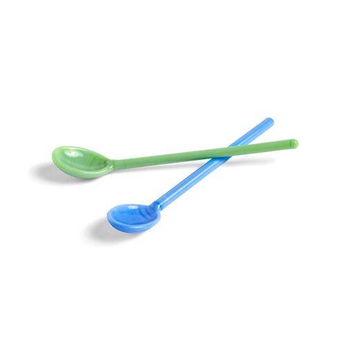 HAY - Glas-Löffel im Set, mono, blau / grün (2er-Set)