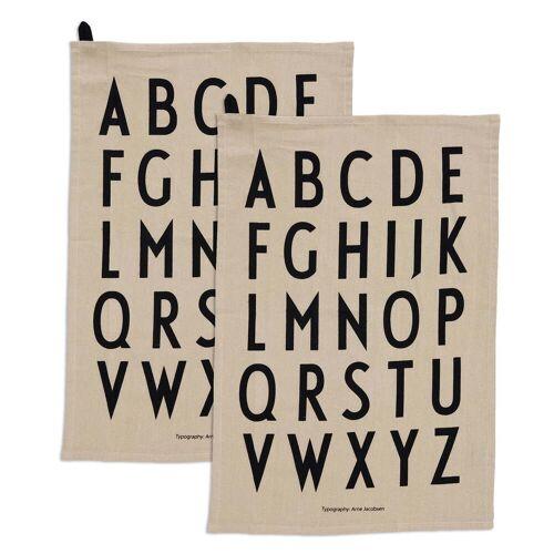Design Letters - Classic Geschirrtuch, beige (2er-Set)