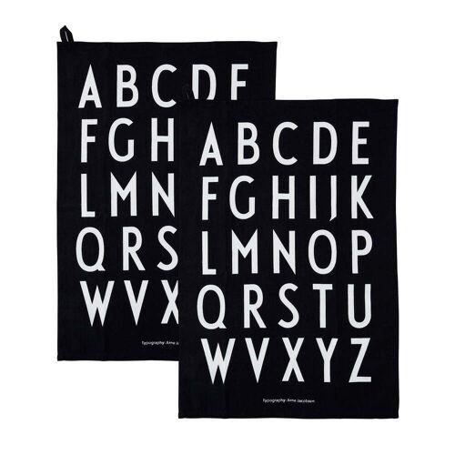 Design Letters - Classic Geschirrtuch, schwarz (2er-Set)