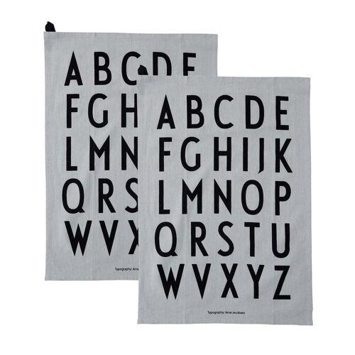 Design Letters - Classic Geschirrtuch, grau (2er-Set)