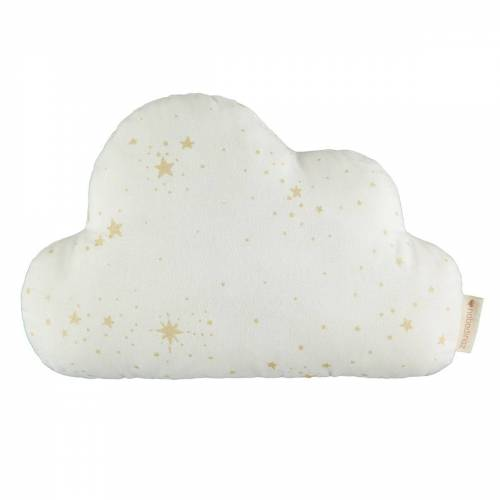 Nobodinoz - Cloud Kissen, 24 x 38 cm, gold stella / weiß