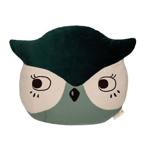 Nobodinoz - Owl Kissen, 38 x 30 cm, eden green