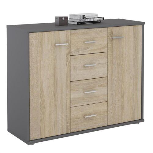 CARO-Möbel Sideboard JAMIE in grau/Sonoma Eiche