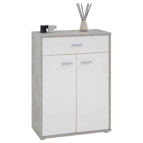 CARO-Möbel Kommode TOMMY Betonoptik/weiß mit Schublade