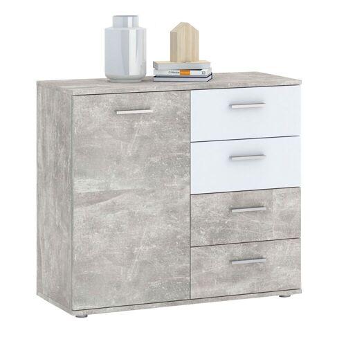 CARO-Möbel Kommode CHICAGO Betonoptik/weiß, 4 Schubladen, 1 Tür