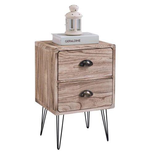 CARO-Möbel Nachttisch MALIA 2 Schubladen im Industrial-Stil
