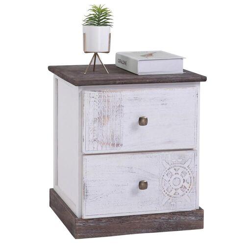 CARO-Möbel Nachttisch JUNA Shabby Chic mit 2 Schubladen