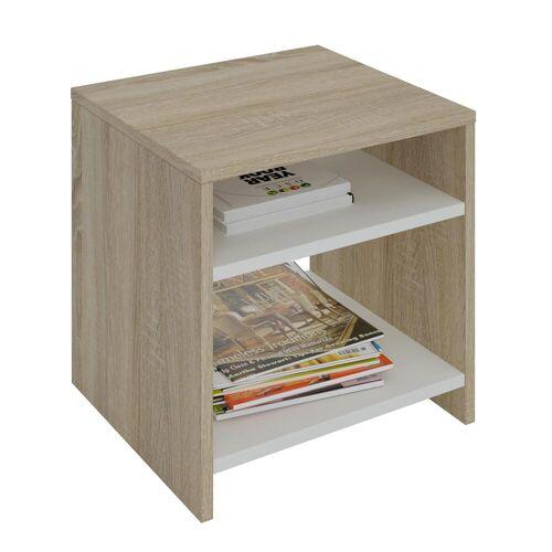 CARO-Möbel Beistelltisch ALMERIA Sonoma Eiche/weiß mit 2 Fächern