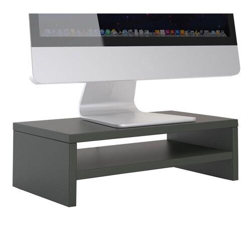 CARO-Möbel Bildschirmaufsatz SUBIDA in grau mit Ablagefach