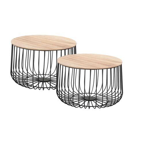 CARO-Möbel Couchtisch PADOVA 2er Set natur, Metallkörbe mit Deckel