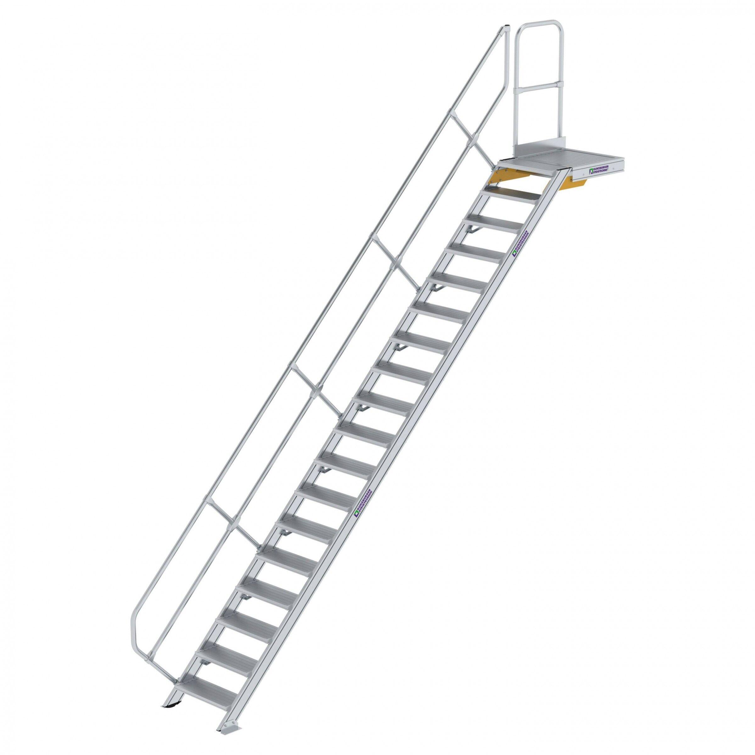 Günzburger Steigtechnik Günzburger Treppe mit Plattform 45° inkl. einen Handlauf, 600mm Stufenbreite, 18 Stufen