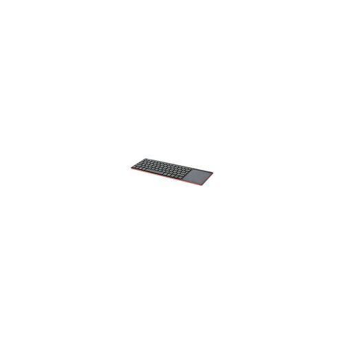 InLine Wireless Aluminium Slim-Tastatur mit Touchpad, 2,4GHz, schwarz/rot