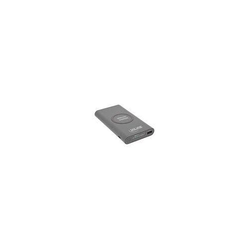 InLine Qi-Plate Powerbank, 8000mAh, Wireless Charging, induktiv kabellos laden und wiederaufladen, grau