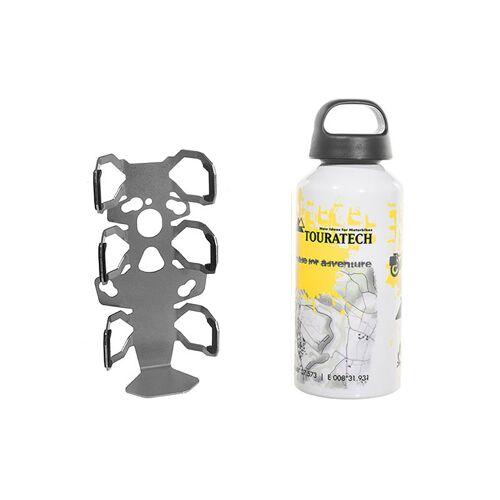 Touratech ZEGA Pro/ZEGA Mundo Zubehörhalterset Flaschenhalter einfach mit Touratech Aluminium Trinkflasche 0,6