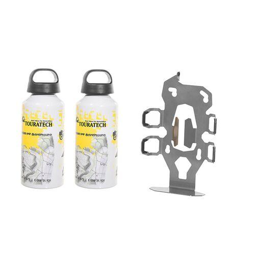 Touratech ZEGA Pro2 Zubehörhalterset Flaschenhalter zweifach mit 2x Touratech Aluminium Trinkflasche 0,6 Liter