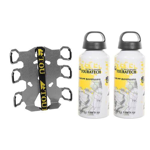 Touratech ZEGA Pro/ZEGA Mundo Zubehörhalterset Flaschenhalter zweifach mit 2x Touratech Aluminium Trinkflasche
