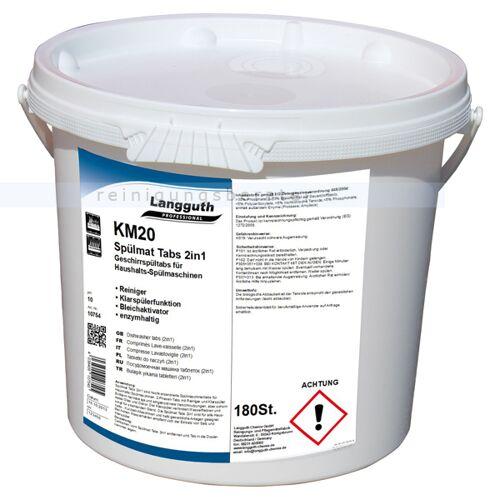 Langguth KM20 Spülmat 180 Stk. im Eimer Spülmaschinentabs 2-in-1-Tabs für Haushalts-Spülmaschinen